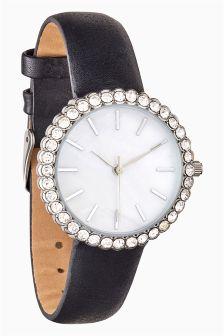 Jewelled Case Strap Watch