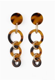 Tortoiseshell Effect Hooped Drop Earrings