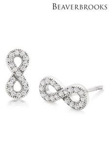 Beaverbrooks Silver Cubic Zirconia Infinity Stud Earrings