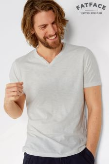 Fat Face White Organic Slub Notch Henley