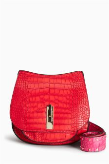 Croc Effect Saddle Bag