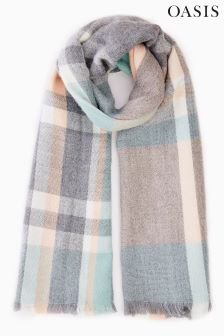 Oasis Green Annabelle Check Scarf