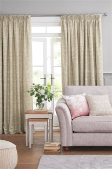 Natural Leaf Trail Jacquard Multi Header Curtains
