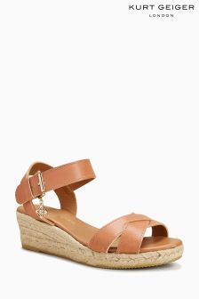 Kurt Geiger London Tan Libby Low Espadrille Wedge