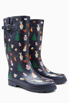 Christmas Print Wellies