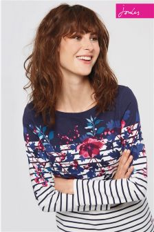 Joules Navy Floral Stripe Harbour Print Top