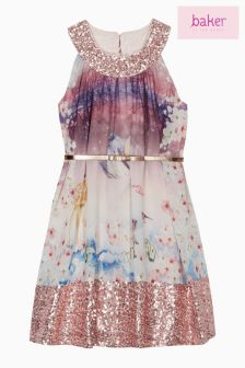 baker by Ted Baker Pink Printed Sequin Dress