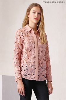 French Connection Pink Manzoni Lace Classic Shirt