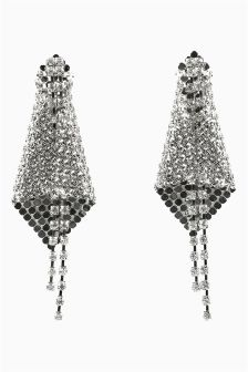 Diamanté And Chain Mail Drop Earrings