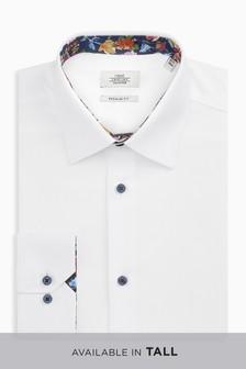 Textured Regular Fit Shirt With Floral Trim