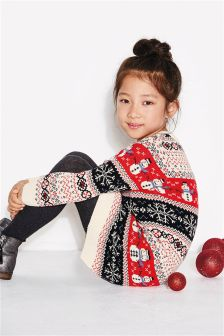 Girls Snowman Fairisle Pattern Tunic (3-16yrs)
