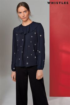 Whistles Navy Long Sleeve Star Blouse