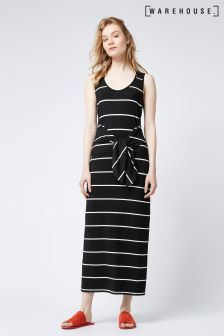 Warehouse Black Stripe Tie Front Maxi Dress