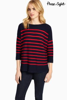 Phase Eight Navy Cherry Breton Stripe Megg Knit
