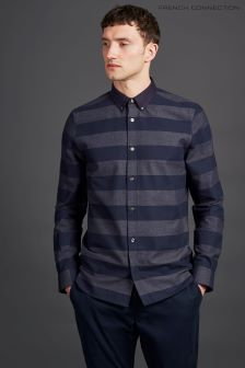 French Connection Navy/Charcoal Classic Flannel Striped Shirt