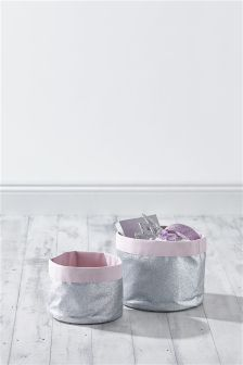 Set Of 2 Metallic Storage Tubs