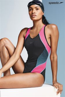 Speedo® Black/Pink Fit Splice Swimsuit