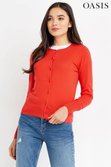 Oasis Red Crew Cardigan