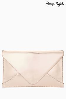 Phase Eight Rose Gold Metallic Leather Envelope Clutch
