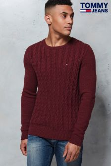 Tommy Jeans Red Cable Knit Sweater