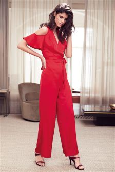 Satin Cold Shoulder Jumpsuit