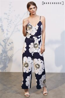Warehouse Navy Melody Floral Jumpsuit