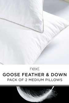 Set Of 2 Medium Goose Feather And Down Pillows