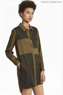 French Connection Olive Green Long Sleeved Shirt Dress