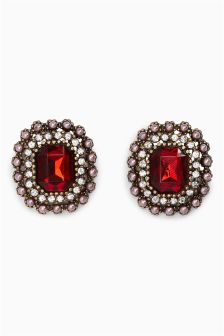 Big Jewel Stud Earrings
