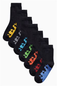 Paint Splat Footbed Socks Seven Pack (Older Boys)