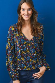 Floral Pleated Wrap Top