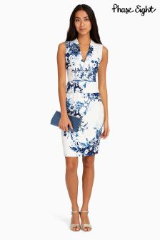 Phase Eight White Chinoiserie Print Dress