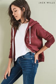 Jack Wills Red Glendale Zip Up Hoody
