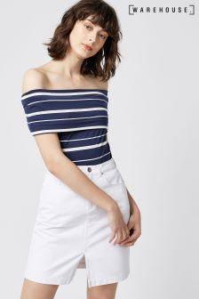 Warehouse Blue Stripe Stripe Deep Bardot Top