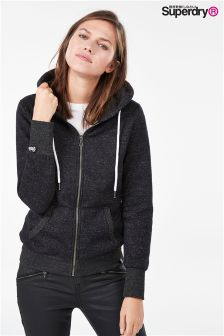 Superdry Orange Label Black Sparkle Luxe Zip Hoody