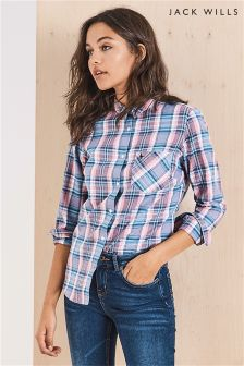 Jack Wills Pink/Blue Boyfriend Flannel Shirt
