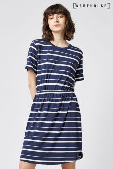Warehouse Navy Gathered Waist Stripe T-Shirt Dress