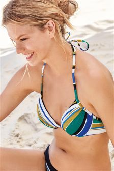 Striped Padded Underwired Bikini Top