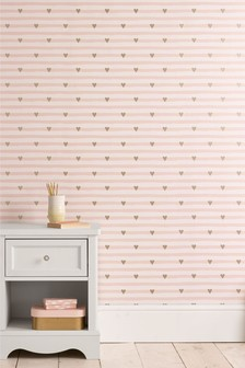 Paste The Wall Metallic Hearts Wallpaper