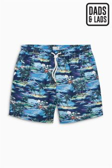 Hawaiian Print Swim Shorts