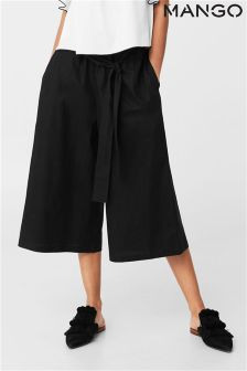 Mango Black Wide Culottes With Tie Waist