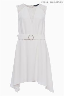 French Connection White Crepé Draped Dress