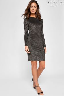 Ted Baker Penie Gold Sparkle Long Sleeve Bodycon Dress