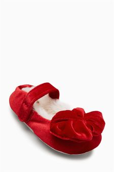 Velvet Bow Ballet Slippers (Younger Girls)