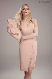 Gina Bacconi Pink Mosaic Sequin Embroidery And Crepe Dress