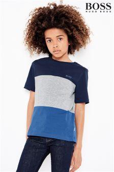 Hugo Boss Grey/Navy Colourblock T-Shirt
