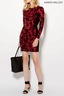 Karen Millen Leopard Abstract Leopard Knit Dress
