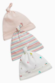 Delicate Print Tie Top Hats Three Pack (0-18mths)