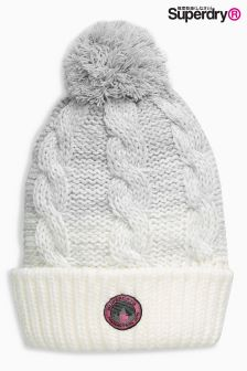 Superdry Grey/White Ombre Clarrie Cable Knit Beanie