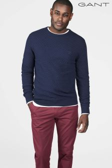 Gant Blue Cotton Texture Crew Jumper